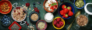 Breakfast with müsli, fruits, nuts and more